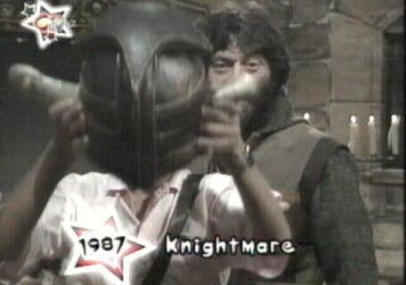 Knightmare on CITV's Birthday Bash (2003). Treguard sends the first dungeoneer on his way in 1987.
