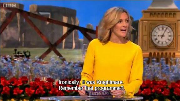 Knightmare is mentioned by Gaby Logan as the answer to a question on the BBC's 'I Love My Country'.