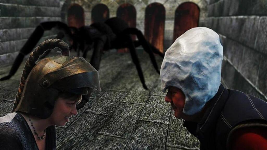 BBC's Nicky Price as a dungeoneer faces off against Knightmare creator Tim Child as Lord Fear.