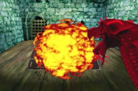 Knightmare Series 8 Team 1. The red dragon Bhal Shebah fries Richard with a fireball.