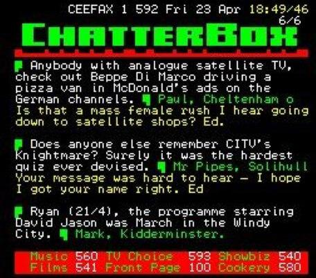 A capture of Chatterbox, a Teletext discussion page, from 1999.