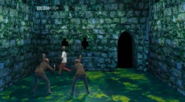 Children's TV on Trial (2007). Footage from Knightmare. Rebecca (Series 8 Team 5) runs from the goblins.