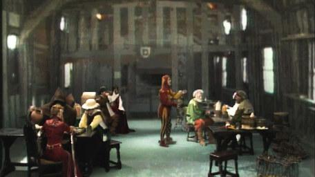 Knightmare's tavern, the Crazed Heifer, as seen in Series 4 of Knightmare (1990).