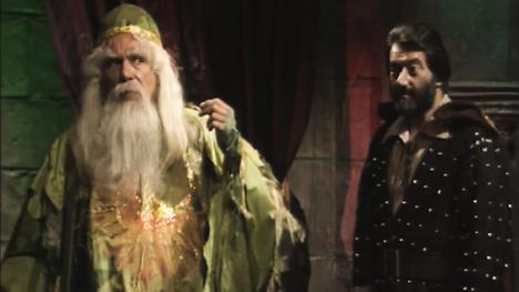 Merlin (John Woodnutt) and Treguard (Hugo Myatt) in Series 4 of Knightmare (1990).