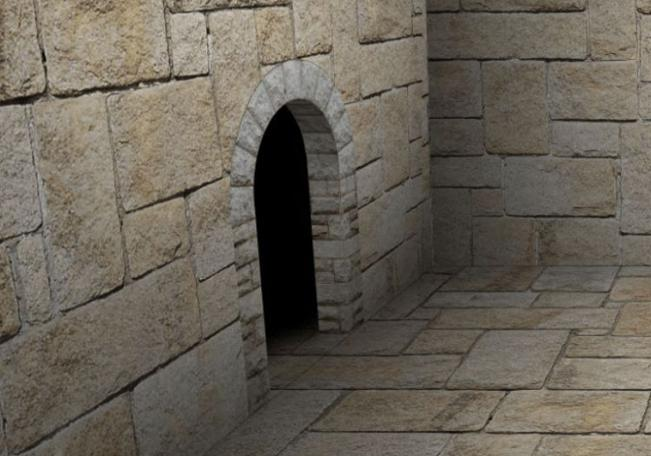 The archway is manufactured into a 3D doorway in the wall by Alex Fruen.