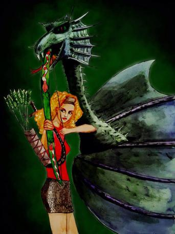 Tatum Flynn's recreation of Gwendoline the Greenwarden and Smirkenorff the Dragon.