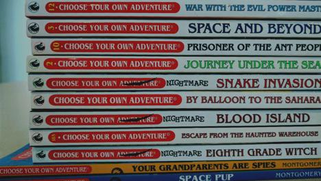 Pile of choose your own adventure books