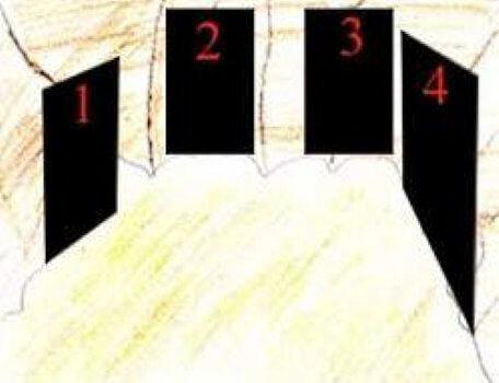 A room with four numbered exits in the second season of the Knightmare RPG.