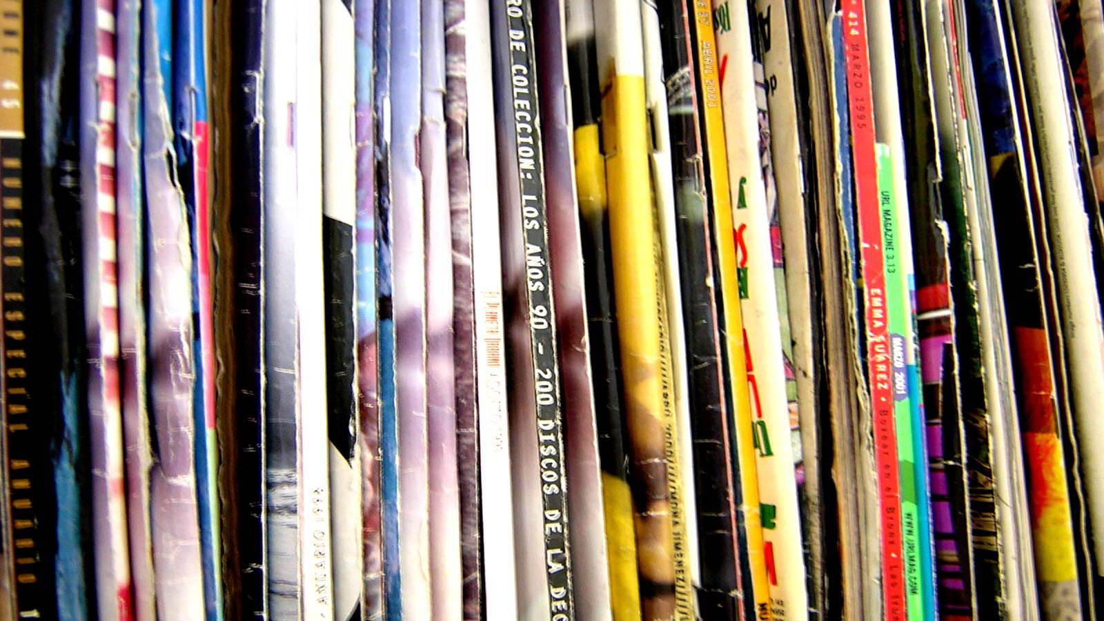 Shelf of magazines