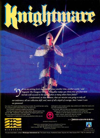 An advertising poster for the Mindscape Knightmare computer game for Amiga and Atari ST (1991).