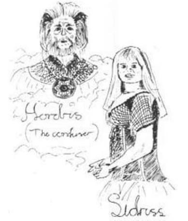 A drawing of Hordriss and Sidriss in The Quest, the Official Knightmare newsletter. Volume 2, Issue 3.