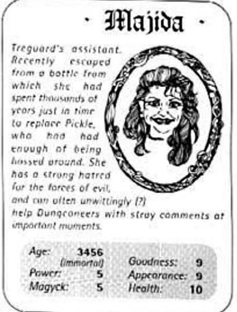 A Top Trumps card for Majida in The Quest, the Official Knightmare newsletter. Volume 3, Issue 1.