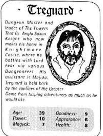 A Top Trumps card for Treguard in The Quest, the Official Knightmare newsletter. Volume 3, Issue 1.