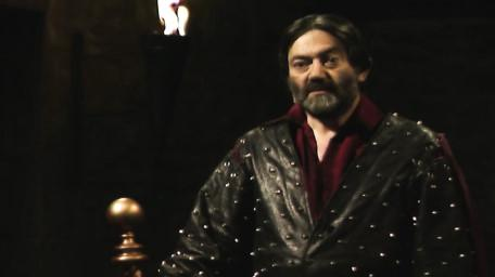 Treguard the Dungeon Master, played by Hugo Myatt. As seen in Series 8 of Knightmare (1994).