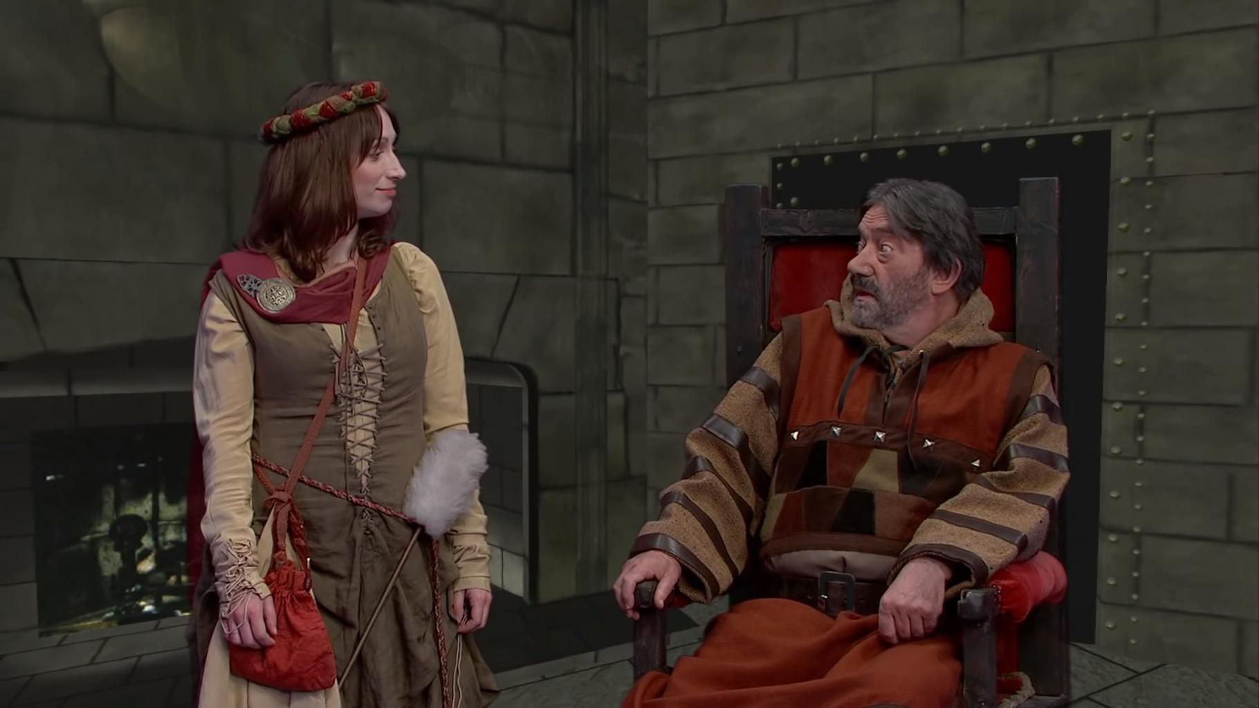 Isy Suttie and Hugo Myatt as Daisy and Treguard in the Geek Week 2013 episode of Knightmare