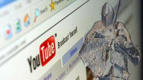 YouTube browser overlaid by a frightknight from Knightmare.