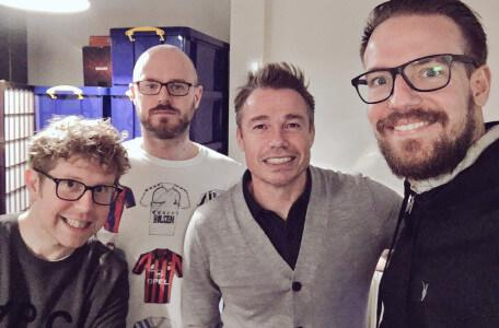 Josh Widdicombe with Chris Scull, Michael Marden and guest Graeme Le Saux.