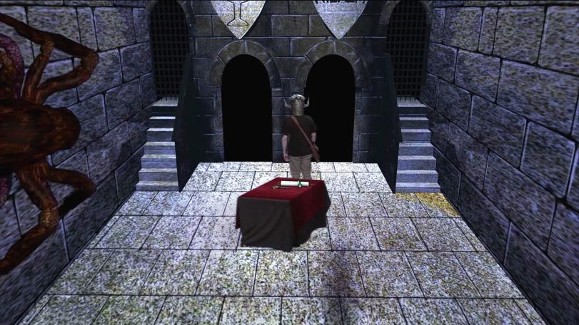 The dungeoneer is chased by Ariadne in the original Level 3 Clue Room, remastered for the Geek Week episode of Knightmare (2013).