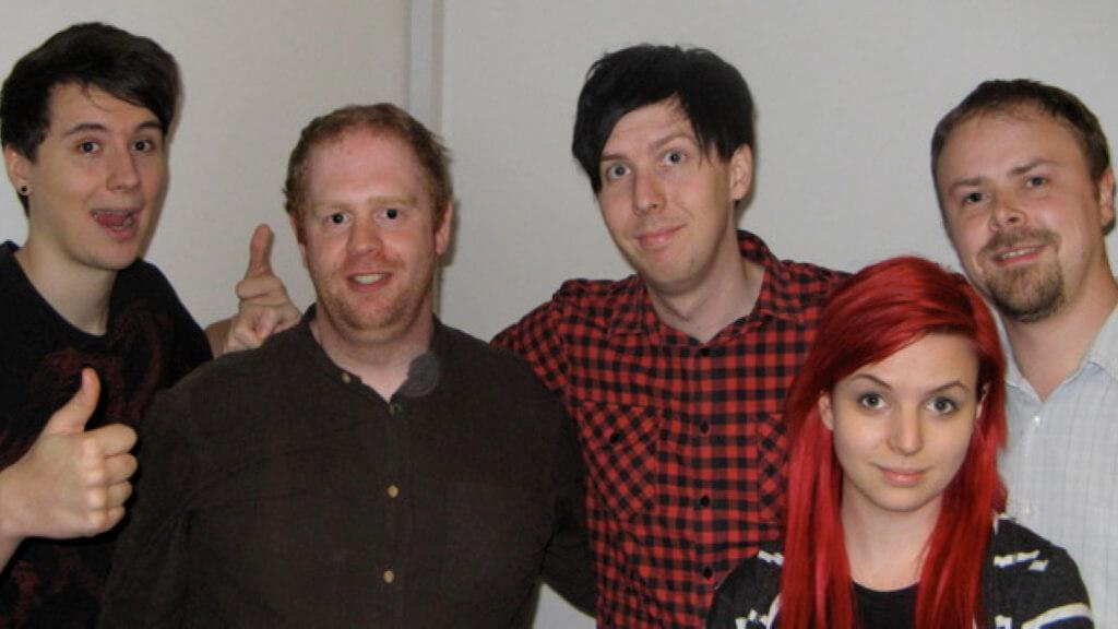 Alan Boyd with the team from Geek Week Knightmare: Daniel Howell, Phil Lester, Emma Blackery and Stuart Ashen.