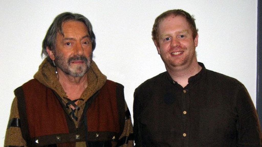 Alan Boyd with Hugo Myatt during the filming of the Knightmare episode for Geek Week (2013).