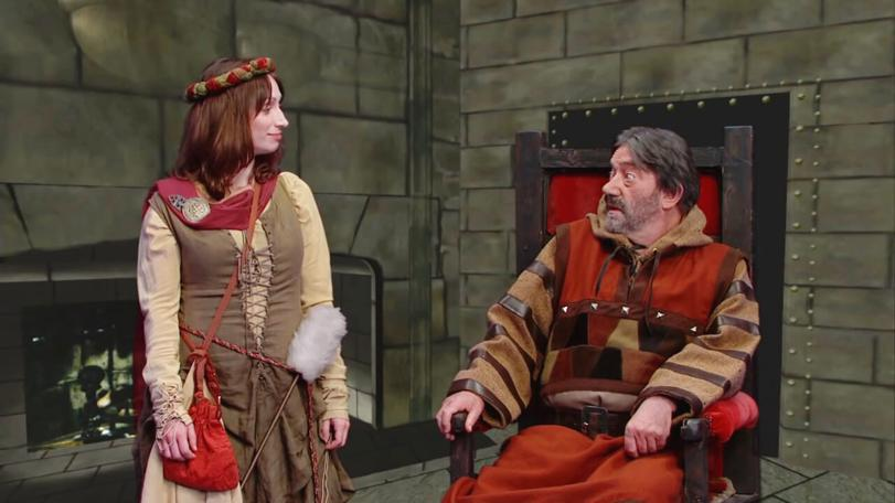 Hugo Myatt as Treguard and Isy Suttie as Veruca in the Geek Week episode of Knightmare (2013).