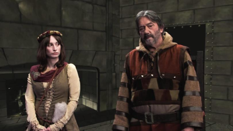 Hugo Myatt as Treguard and Isy Suttie as Veruca in the 2013 Geek Week episode of Knightmare.