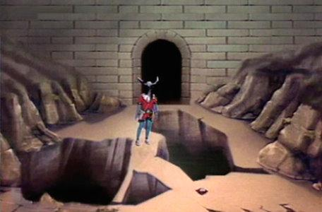 A cavern with narrow pathways in the first series of El Rescate del Talisman.