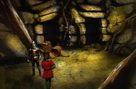 A knight meets a skeleton in the Skeleton Room in the first series of El Rescate del Talisman.