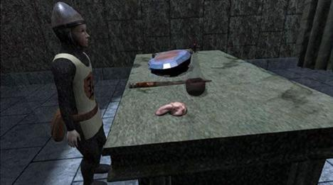 Dungeoneer Arthur at clue table, Knightmare VR 2004
