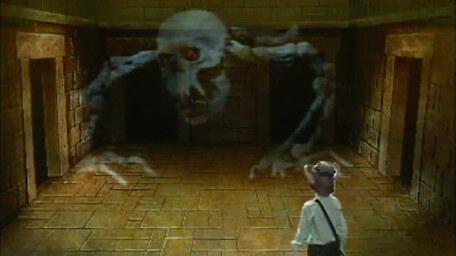 The catacombite, based on a handpainted scene by David Rowe, as shown on Series 1 of Knightmare (1987).