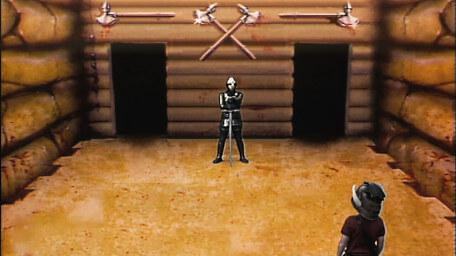 The Combat Room, based on a handpainted scene by David Rowe, as shown on Series 1 of Knightmare (1987).
