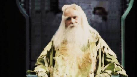 Merlin the Magician, played by John Woodnutt, as seen in Series 1 of Knightmare (1987).