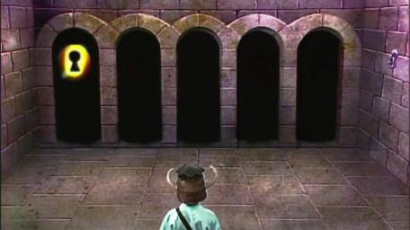 A variant of the Puzzle Room, based on a handpainted scene by David Rowe, as shown on Series 1 of Knightmare (1987).
