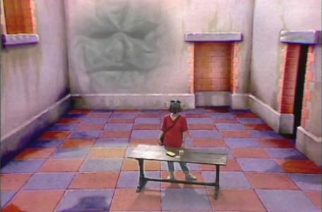 Knightmare Series 1 Team 2. Maeve in the Level 1 clue room.
