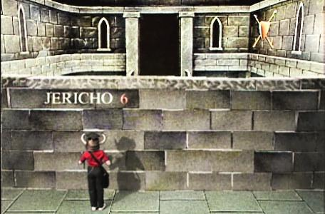 Knightmare Series 1 Team 6. Richard holds up a dagger at the Wall of Jericho.