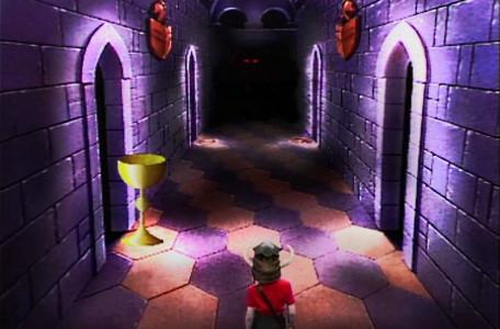 Knightmare Series 1 Team 6. A chalice symbol marks the way ahead from the Corridor of the Catacombs.