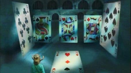 A card puzzle, based on a handpainted scene by David Rowe, as shown on Series 2 of Knightmare (1988).