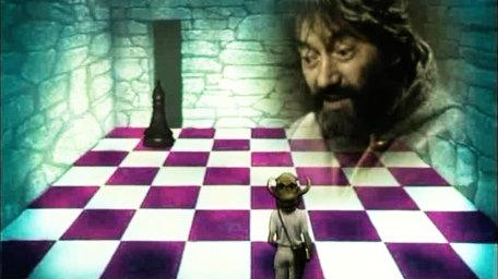 The Combat Chess challenge, based on a handpainted scene by David Rowe, as shown on Series 2 of Knightmare (1988).