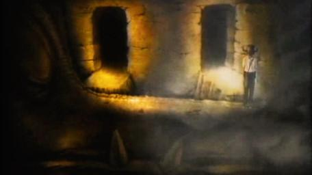 A variant of the dragon room, based on a handpainted scene by David Rowe, as shown on Series 2 of Knightmare (1988).