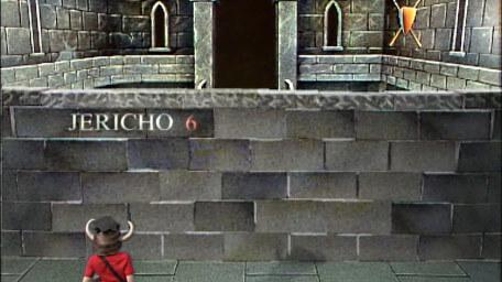 The first part of the Jericho Room (the wall), based on a handpainted scene by David Rowe, as shown on Series 1 of Knightmare (1987).