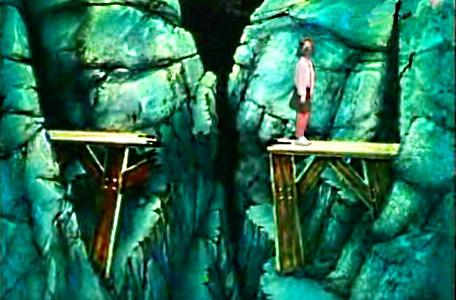 Knightmare Series 2 Team 13. Karen uses magic to fly over a broken bridge.