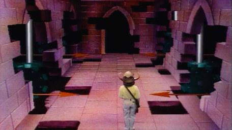 A variant of the Corridor of Spears, based on a handpainted scene by David Rowe, as shown on Series 3 of Knightmare (1989).