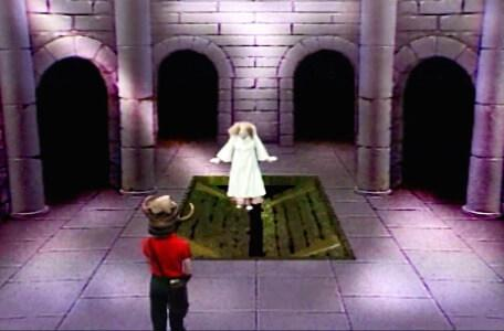 Knightmare Series 3 Team 4. Mellisandre falls through a trapdoor in Level 1.