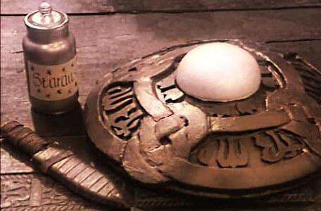 Knightmare Series 3 Team 4. Among the Level 3 clues are a large shield.