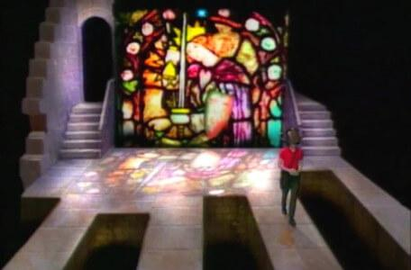 Knightmare Series 3 Team 4. The team choose a path from the stained glass window.
