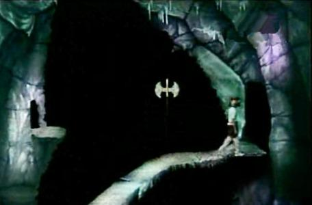 Knightmare Series 3 Team 6. Ross steps off the pathway under pressure from a magic axe.