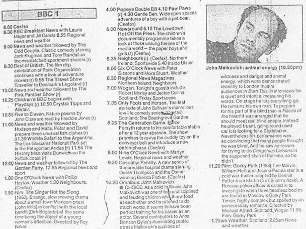 A television schedule for BBC One for 7 September 1990.