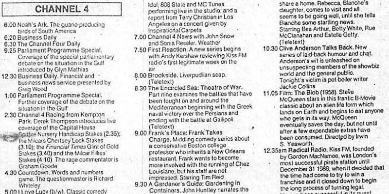 A television schedule for Channel Four for 7 September 1990.