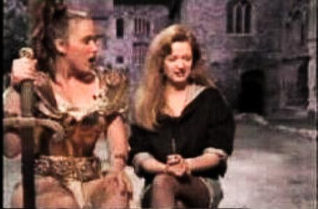 Gundrada (Samantha Perkins) appears on CITV with Jeanne Downs in 1990.
