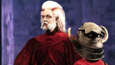 Hordriss the Confuser, played by Clifford Norgate, as seen in Series 4 of Knightmare (1990).